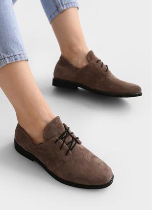 Женские коричневые туфли из замши vm-857-09