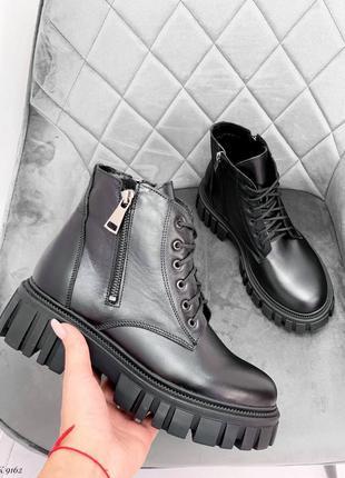 Женские черные натуральные кожаные демисезонные деми ботинки на шнурках шнуровке тракторной подошве