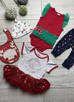 Боди штанишки шапочка слюнявчик на новый год новогодний наряд 0-3-6-9 62-68-74
