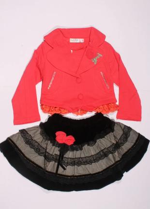 Новый шикарный розовый костюм 2 (пиджак+юбка) для девочек  с 5 до 8 лет