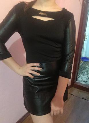 Кожаное платье 🖤