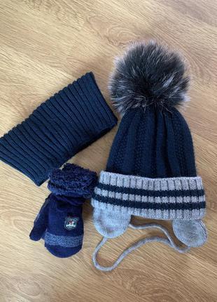 Набір, тепла зимова шапка хомут рукавички