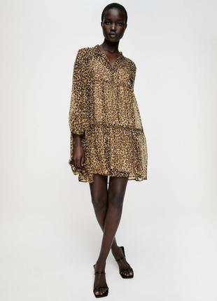 Шифоновое платье с леопардовым принтом zara