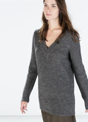 Удлиненный шерстяной свитер zara premium