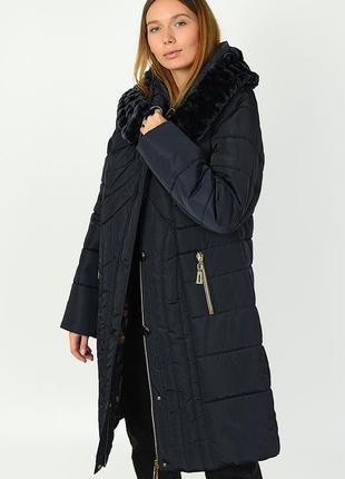Куртка женская удлиненная темно-синий с капюшоном с мехом