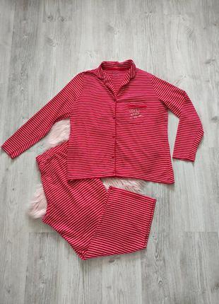 Трикотажная хлопковая красная пижама в полоску домашний костюм