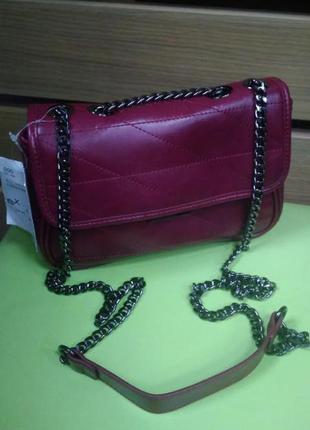 Клатч, сумка, женская, маленькая, бордовая, на цепочке, c&a, 21046