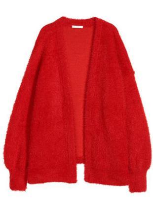 Тёплый, плотный красный кардиган h&m без застёжек.