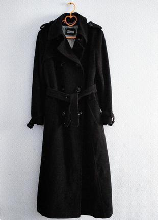 Великолепное шерстяное длинное двубортное пальто