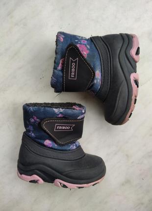 Сапоги ботинки резиновые зимние теплые на липучке для девочки 20 21 made in italy