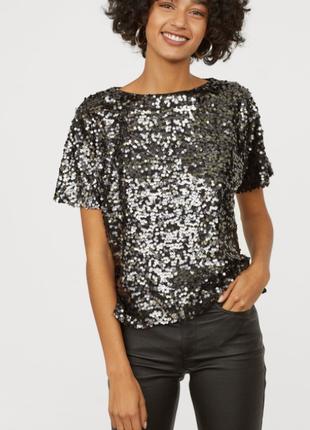 Топ футболка с коротким рукавом с пайетками, серебряный, блестящий