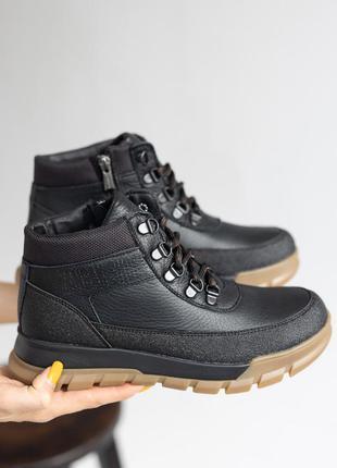 Ботинки детские черные кожаные подростковые зимние шерсть натуральная кожа