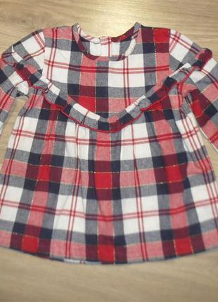 Теплая хлопковая туника/блузка/рубашка на 3-4годика