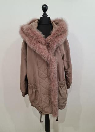 Стильная куртка с мехом писца с капюшоном alberto fabiani