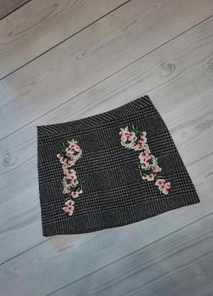 Теплая юбка с вышивкой, в составе шерсть