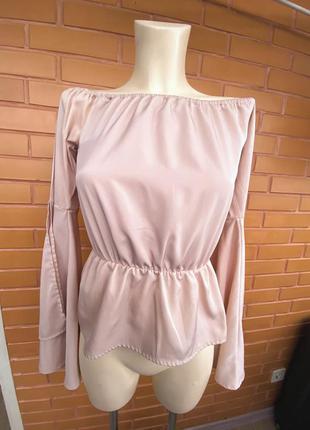 Hannetberg пудровая нежная блуза с красивыми рукавами