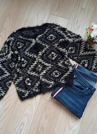 Короткий пушистый объемный свитер в ромбы, xl