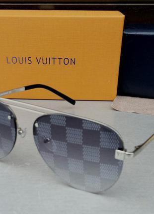 Louis vuitton очки женские солнцезащитные серые зеркальные в серебристом металле