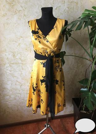 Новое роскошное атласное платье! принт + пояс! ликвидация!