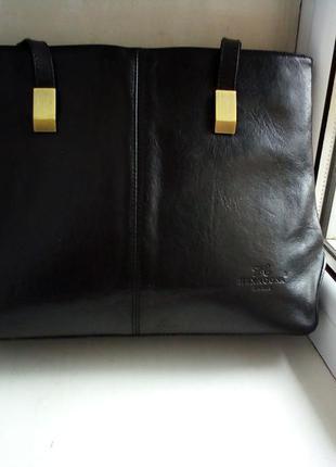 Отличная большая кожаная сумка hexagona ( франция)