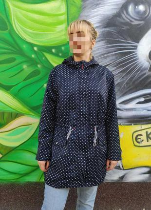 Куртка женская темно синяя в горох большой размер ❤