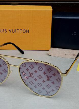 Louis vuitton очки женские солнцезащитные серо сиреневые зеркальные с логотипом бренда в золотом металле