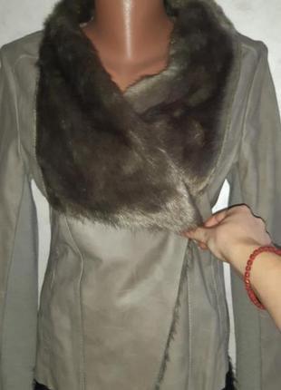 Стильная трендовая куртка косуха эко кожа с мехом
