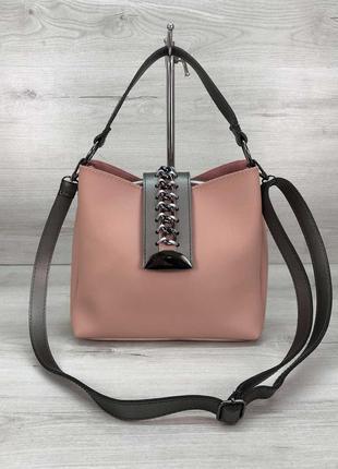 Женская сумка среднего размера пудровая сумка через плечо пудровый клатч через плечо