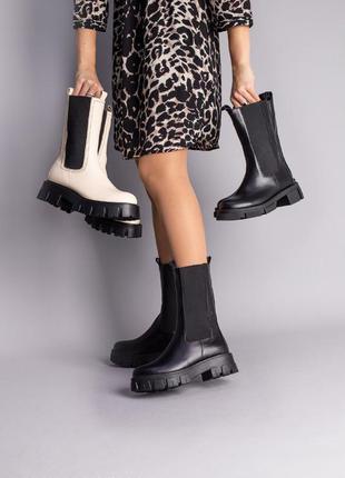 Женские демисезонные ботинки челси натуральная кожа чёрные