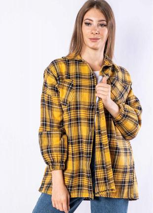 Рубашка женская 632f018 в клетку осенне-весенний   сорочка в клітинку осіння весняна
