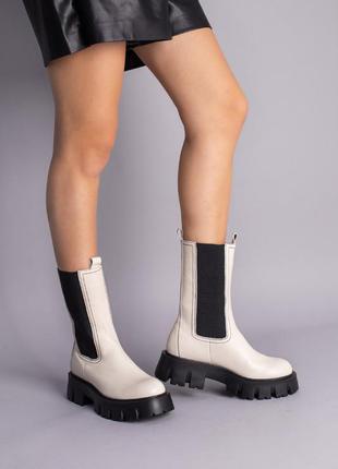 Светлые женские демисезонные ботинки челси натуральная кожа
