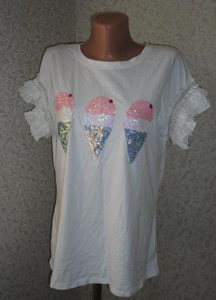 Белая футболка may р.m-l  коттон