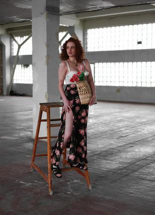 Макси юбка с розами