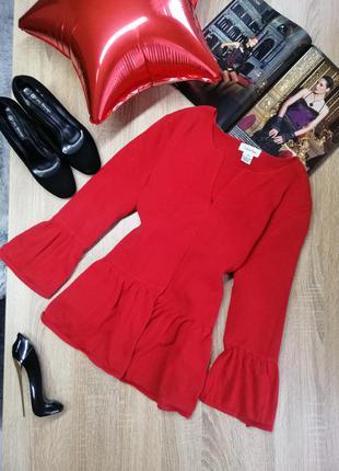 Красный вязаный кардиган calvin klein xl xxl с рукавами воланами накидка осенняя из хлопка