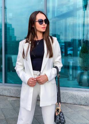 Брючный костюм комплект универсальный базовый повседневный штаны брюки классический пиджак жакет свободного кроя