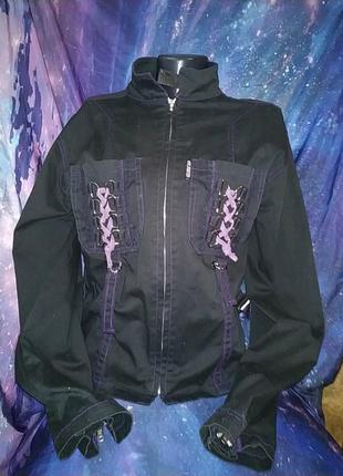 Крутая неформальная готическая куртка жакет со шнуровкой и стропами poizen industries