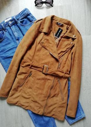 Трендовая куртка косуха под замш, курточка поясом, тренч, плащ, куртка рубашка