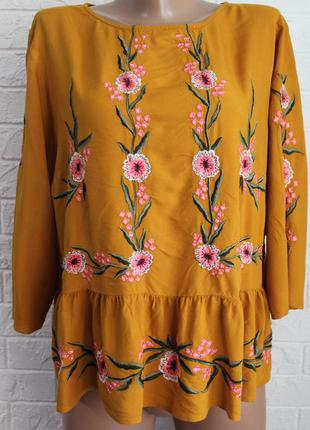 Блузка с вышивкой new look в идеальном состоянии 2xl