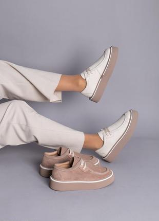 Туфли лоферы женские натуральная кожа замша