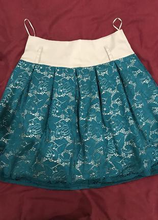 Бирюзовая ажурная юбка