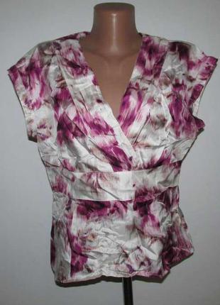 Блузка 100% шелк, linea, l-xl. как новая!