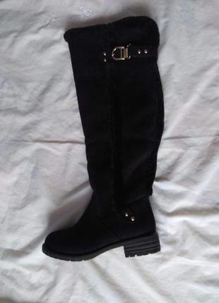 Нові, зимові, екозамшеві чоботи/ботфорти jumex (великобританія), роз. 36-36,5, устілка 23,5 см