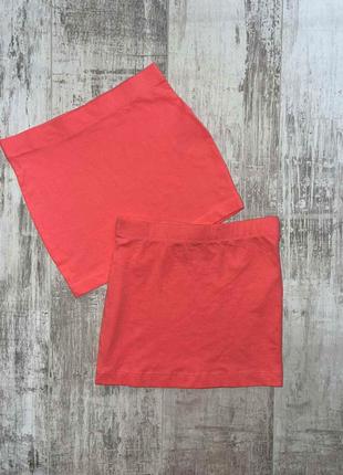 Коралловая однотонная юбка на девочку pepperts размер 134/140.