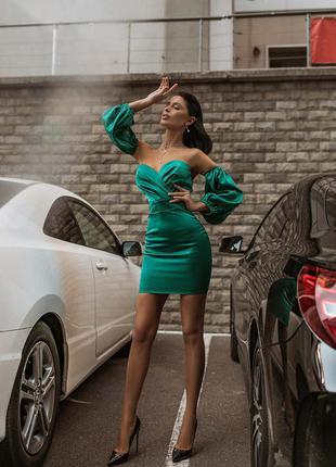 Вечернее корсетное мини платье с объемными съёмными рукавами бер