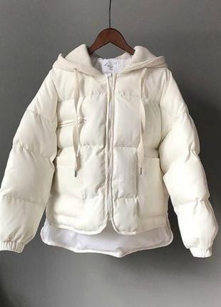 Белая куртка , куртка с капюшоном, куртка 46 размера