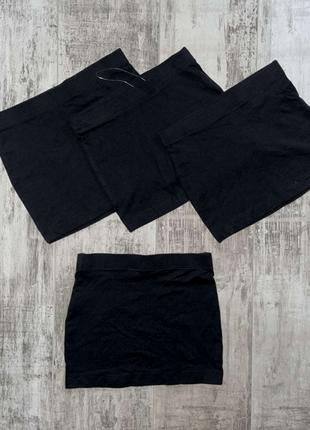 Черная однотонная мини юбка на девочку от pepperts германия.