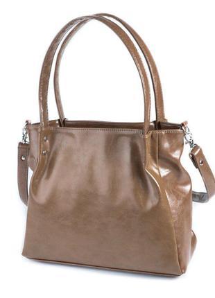 Коричневая женская сумочка модная мягкая гладкая сумка с ручками на плечо длинный ремешок