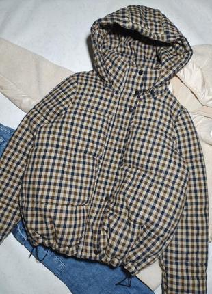 Идеальная куртка пуховик пуффер дутик в клетку в стиле mango от only р.s - м оверсайз