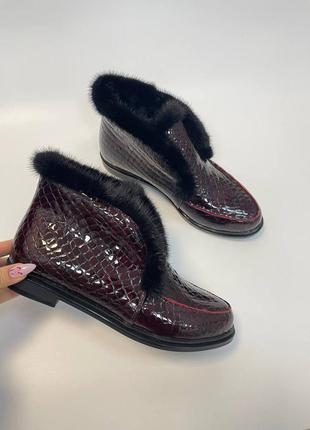 Ідеальні чобітки опушка норка натуральні\ ботиночки с опушкой норка натуральные