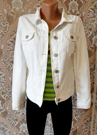 Джинсовая куртка джинсовка белая базовая